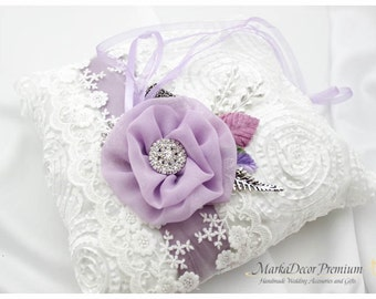 Wedding Ring Pillow Bridal Lace Ring Pillow Custom Jewelled Brooch Bearer Pillow with Brooches Jewels, Beaded Flowers in White and Lavender