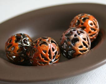 Paisley Tiger Torch Fired Enamel 20mm Beads a Set of 4