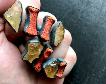 Raw citrine ring | Coral ring | coral branch ring | rough citrine ring | Adjustable ring | citrine in silver ring