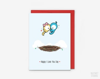 Cute Love Birds and Nest Love Card, Valentine's Day Card, Anniversary Card, I Love You Day Card