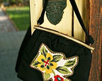 Vintage hand applique purse