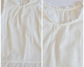 Vintage White Cotton Batiste Baby Slip With Lace Trim and Soft Net Ruffle Sz 12 Months