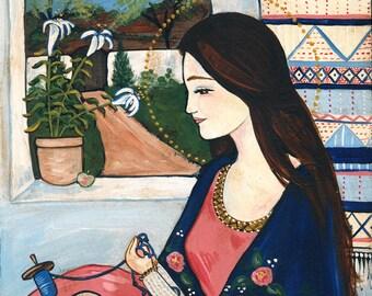 8x10 Our Lady, Undoer of Knots folk art virgin mary fiber artist