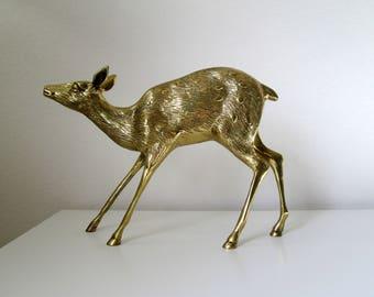 Large Brass Deer Figurine / Gold Colored Metal Doe / Natural Decor / Woodland / Vintage / Fawn / Deer Grazing / Deer Display / Forest Statue