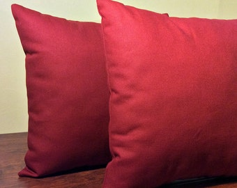 Indoor Outdoor Patio Pillows | Indoor Outdoor Pillows | Solid Burgundy Red | Red Outdoor Pillows | 14x14 single or set - Ready to Ship