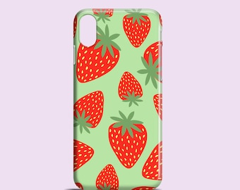 Strawberries phone case / iPhone X, Phone 8, green iPhone 7, 7 Plus, iPhone SE, iPhone 6S, 6 / iPhone 5/5S / Samsung Galaxy S7 / Galaxy S6