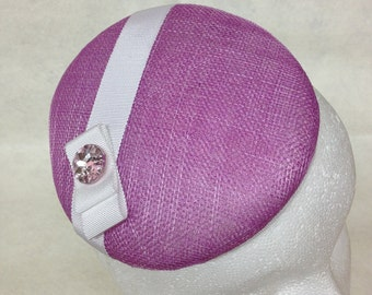 Crocus Sinamay Spring Fascinator with White Grosgrain Ribbon and Sparkly Pink Button - Easter Bonnet