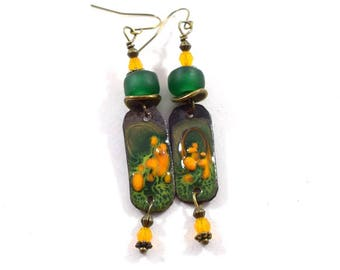 Handmade Earrings, Enameled Earrings, Dark Green Yellow and Orange Earrings, Brass Earrings, Boho Earrings, Artisan Earrings, AE163