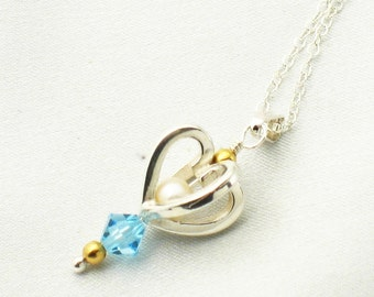 Small heart pendant - aqua