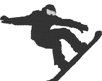 Snowboarder - Embroidery Design File - Instant Download - One color - 4x4 hoop - 2 sizes