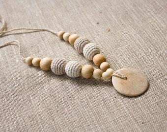 ORGANIC COTTON Nursing Necklace, New Mom Necklace, Breastfeeding, Teething Necklace, Neutral Colors, Juniper Wood - NB11