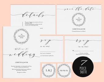 Wedding Invitation Template, Wedding invitation template, Wedding Invite, Kraft wedding Invitation, pdf instant download, LDS_1