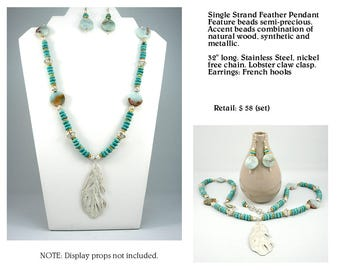 Feather Pendant Silver Finish Necklace Set and Semi Precious Accents