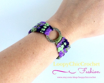 Crocheted Bracelet with Honesty Inspirational Saying, Purple and Green Crochet Bracelet, Inspirational Sayings on Jewelry for Women or Teens