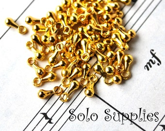 60 Tiny Weights in Shiny Gold Color Small Weight Charms Dangles Ball Shaped Drops