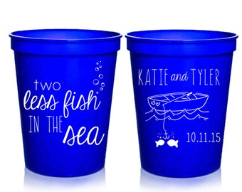 Beach Wedding Favors - 2 Less Fish in the Sea Personalized Wedding Cups, Reception Favors for Guests, Shower Party Cups, 16 oz. Stadium Cups