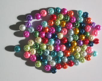 Set of 25 assorted colors 8 mm pearls