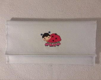Handmade Cross Stitch Ladybug Purse