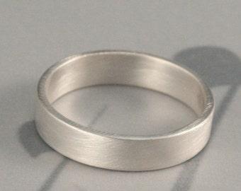 Men's Silver Wedding Ring--The Straight and Narrow Wide Band--5mm wide Flat Edge Solid Sterling Silver Band Custom made in YOUR size