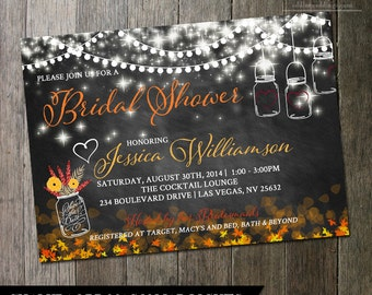Mason Jar Bridal Shower Invitation - Chalkbaord with fall colors of mason jars and flowers - Country Wedding Invitations