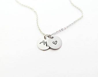 Mountain Love Handstamped Silver Charm Necklace with Mountain and Heart Stamps