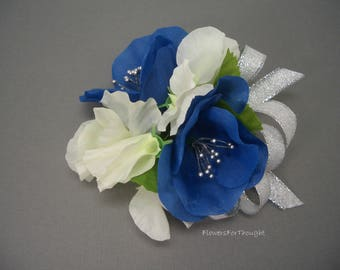 Blue and White Corsage, Wedding, Prom, California Poppy, Sweet Pea