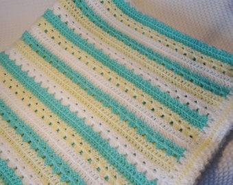 Crochet Baby blanket -stripe baby blanket -baby shower present