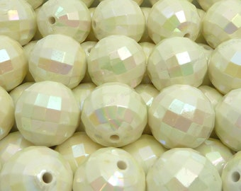 20mm Pearlized Seashell White Faceted Disco Ball Beads - 10pcs - Candy Color Beads, Chunky Bubblegum Beads, Round Acrylic Beads - BR4-6