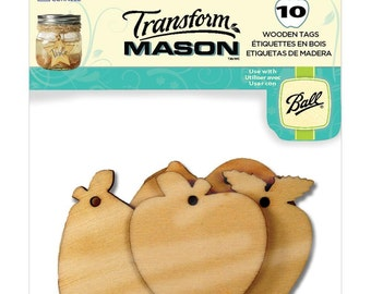 10 Pack Fun/Fresh Fruit Wooden Tags by Mason - Gift Tags, Jar Tags, Favor Tags