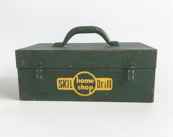 1950s Green Steel Toolbox - Skil Drill Box with Retro Graphics, Utility Box
