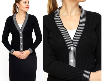 Vintage 1960s/70s Black and White Ribbed Fitted Cardigan by R&K Knits | XS/Small