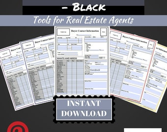 Buyer Contact Form | Black | Real Estate Forms | Realtor Forms | Real Estate Agents | Realtors | Real Estate Marketing Active