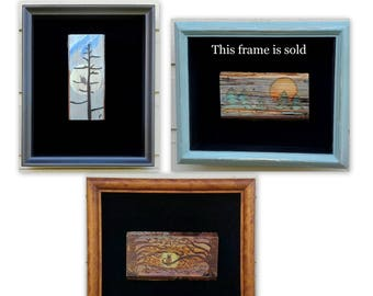 Shadow Box Frame for pyrography art (frame only) upscaled vintage frame with black velvet lining for art display, choice of three styles