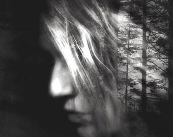 surreal portrait, dreamy spiritual conceptual art, girl portrait photo, tree, woman face, home decor, fine art, wall decor, dark art, forest