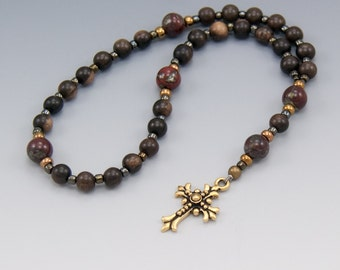 Anglican Prayer Beads - Ebony Wood with Jasper - Christian Rosary - Gift Box Included - Item # 779