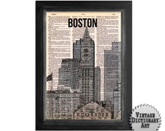 Downtown Boston Skyline - Cityscape printed on Recycled Vintage Dictionary Paper - 8x10.5 Dictionary Art Print