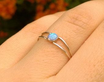 blue opal, Blue opal ring, opal ring, Silver blue opal ring, Silver stacking ring, silver opal ring, Tiny opal ring, Blue opal, opal jewelry