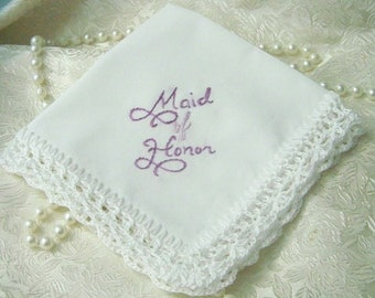Maid of Honor Handkerchief, Bridal Party Gift, Hand Crochet, Wedding Party Gift, Lavender, Hand Embroidered, Lace Hanky, Ready to ship