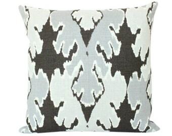 Grey Ikat Pillow Cover in Kelly Wearstler Bengal Bazaar Fabric
