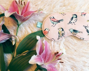 Pastel Pink 'Song Bird' Sleep Mask in Pink Aqua Blue and Yellow Handmade to Order
