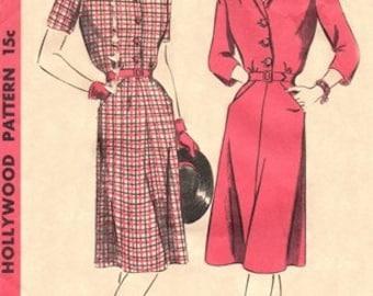 Hollywood 1550 Classy Shirtwaist Dress / ca. 1945 / SZ12 COMPLETE