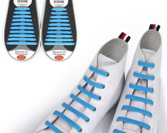 TOTOMO Sky-Blue No Tie Elastic Silicone Shoelaces for both Kids & Adults Tieless Shoe Laces