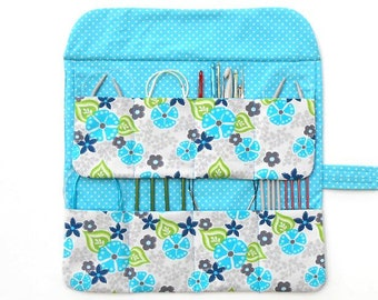 Gift For Knitters, Circular Needle Roll, Needle Case, 8 Pockets For Holding Circular Needles, Crochet Hook Holder, DPN Storage Organizer