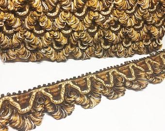 Brown Pumpkin and Beige Scalloped Braid - Vintage  French Lyon Flat trim - Designer Trim - Pillow Fringe - Sewing Trim - 1 Yard