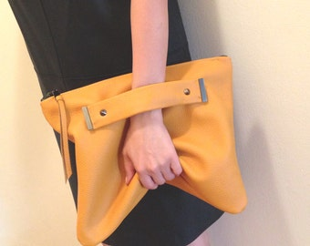 Italian Leather clutch with handle strap, foldover, oversized pouch bag
