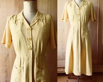 CC41 yellow linen rayon 1940s dress, medium/large