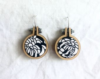 Repurposed Fabric Hoop Earrings. Monochromatic. Black and White. Floral. Pattern. Sterling silver. Recycled. Handmade. Textile art. Unique.