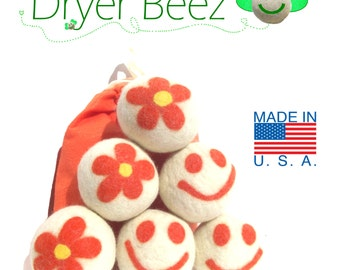 Wool Dryer Balls 6 Designer Eco-Friendly Orange Happy faces Gift Set of Six Premiun USA wool fleece needle-felted Smiley flowers w/ bag