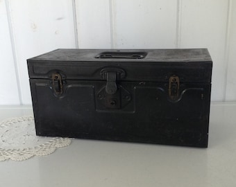 Black and Rusty Old Chippy Painted Tool Box Blue Interior