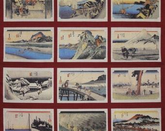 Furoshiki Fabric Red 'Hiroshige Tokaido Collection' Cotton Japanese Fabric w/Free Insured Shipping